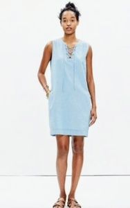 Madewell Lace Up Chambray Dress